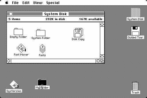 Раннее воплощение «метафоры рабочего стола» от Apple Macintosh