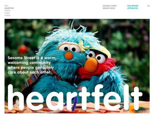 Описание атрибута «сердечный» из брендбука «Улицы Сезам»