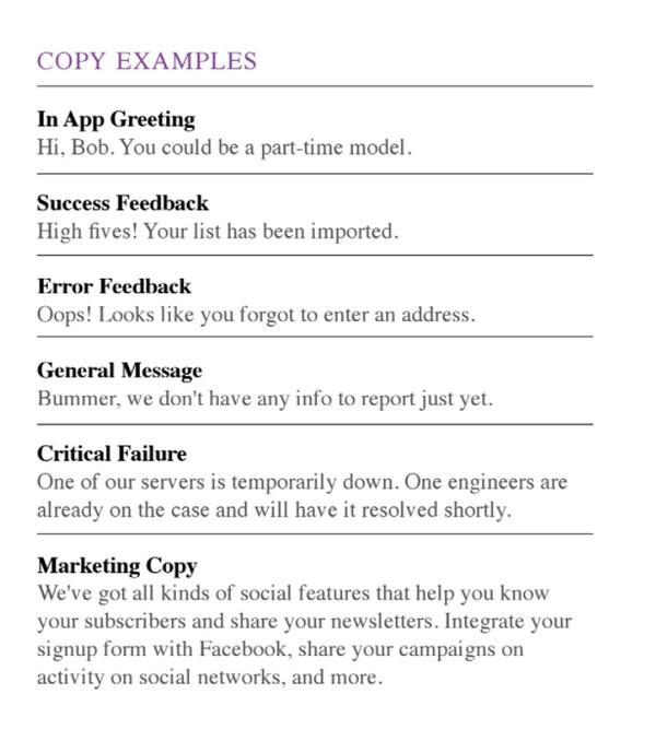 Mailchimp демонстрирует, как распространить атрибуты бренда на такие элементы пользовательского опыта, как язык и тон сообщений компании.
