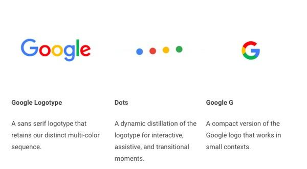 Товарный знак и логотип компании наряду с четырьмя динамическими точками являются элементами брендинга Googl