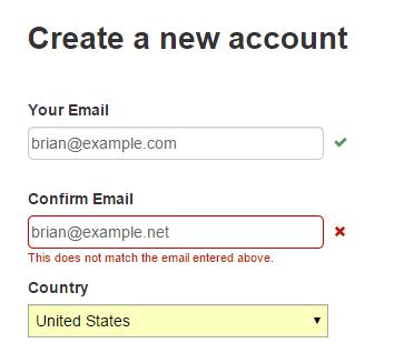 Система сообщает, что адрес во втором поле не соответствует адресу в первом.