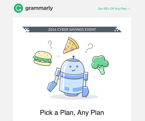 Пример с сайта Grammarly: «Цифровые сбережения 2016. Выберите план. Любой план»