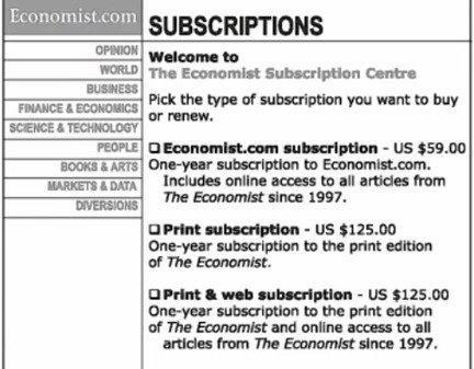 Варианты подписки на Economist