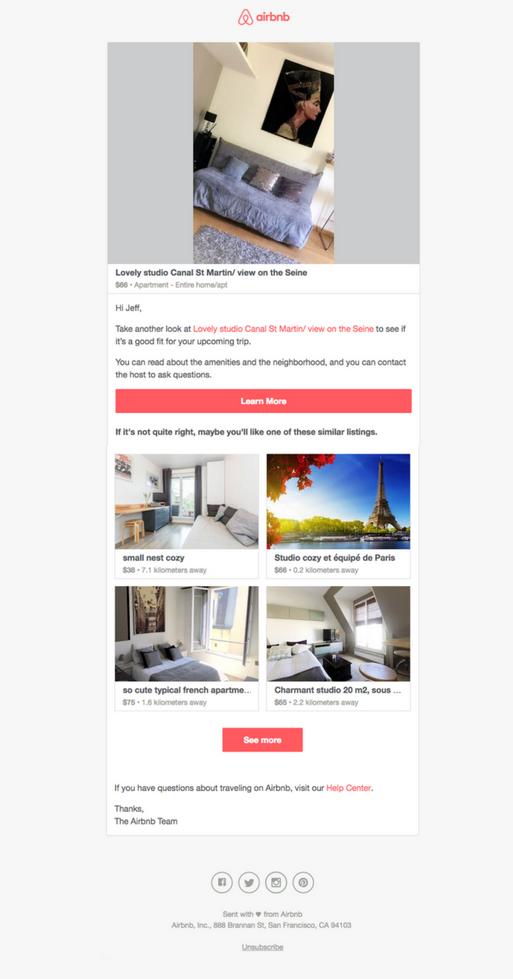 Письмо от Airbnb приходит в тот же день, когда пользователь нажал «забронировать», а затем покинул сайт, так и не завершив сделку