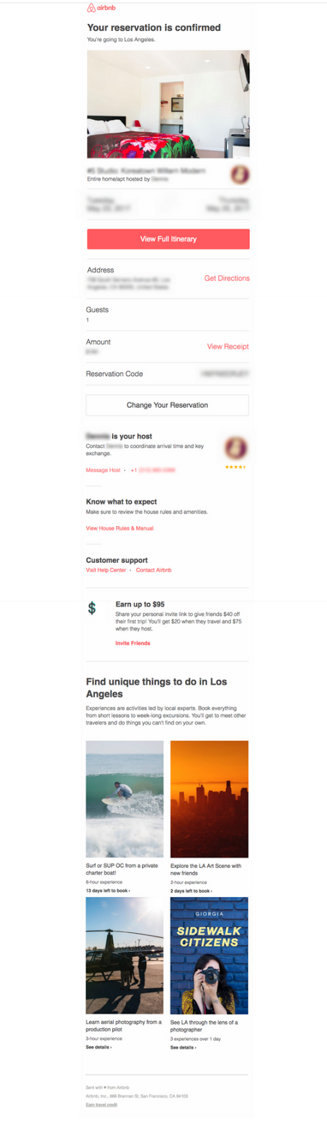После бронирования на Airbnb пользователь получает письмо с подтверждением, в котором содержится вся необходимая информация.