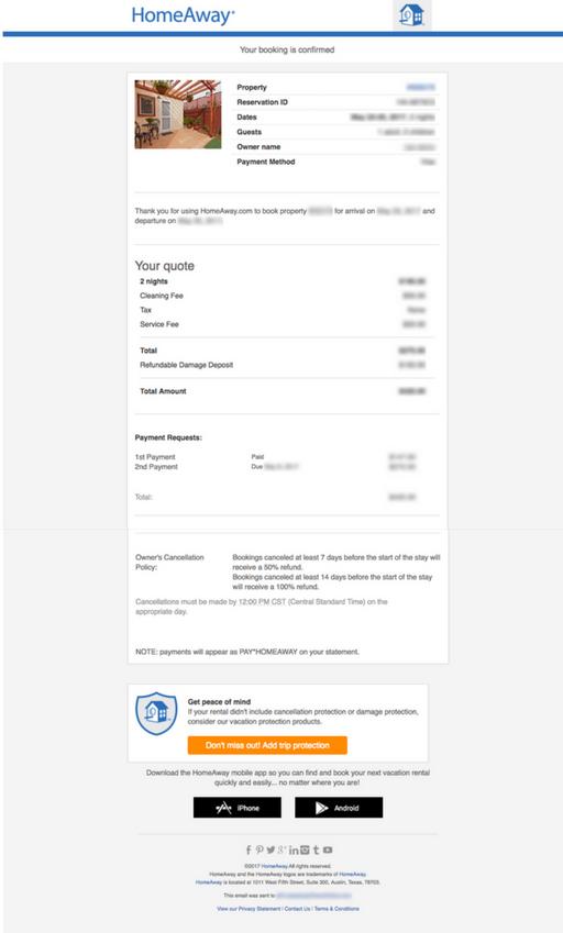 Транзакционные письма от HomeAway