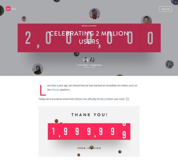 Благодарность InVision 2 миллионам клиентам.