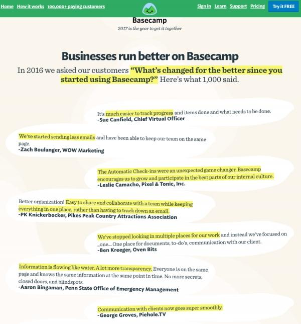 Ответы клиентов Basecamp на вопрос «Что изменилось в вашей жизни после того, как вы начали использовать Basecamp?»