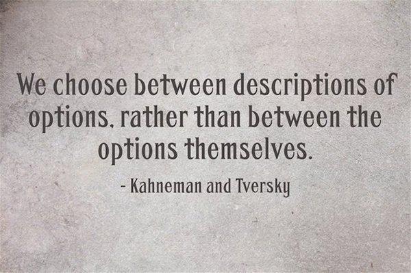«Мы выбираем между описаниями опций, а не между самими опциями», Канеман и Тверски