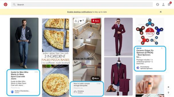 Pinterest's home feed after user onboarding