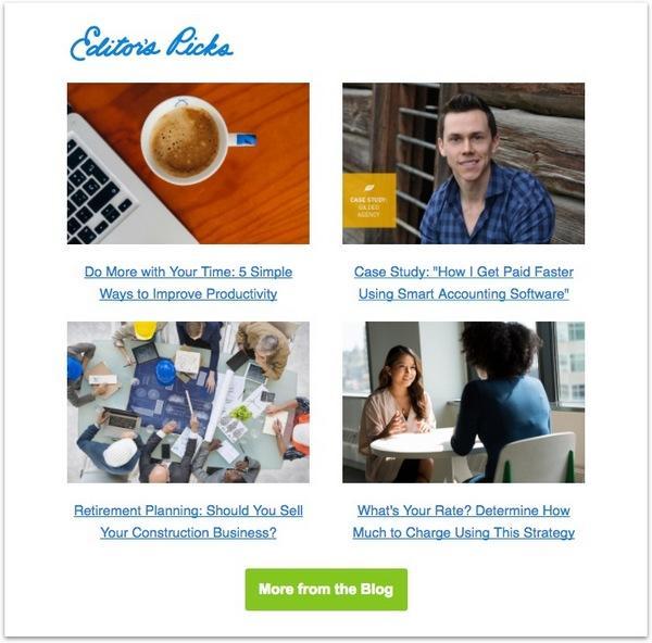 Пример завлекающего на сайт контента от Freshbooks
