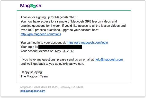 Спасибо за подписку на сервис Magoosh!