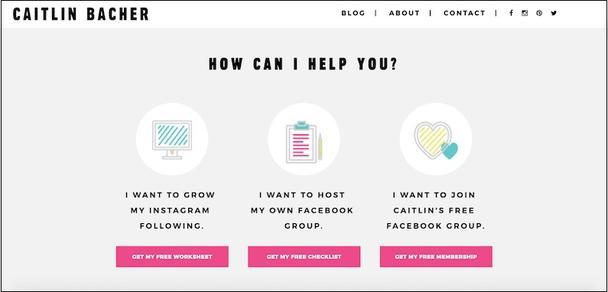 Эта страница спрашивает посетителей, что их интересует, и перенаправляет их на один из трех лендингов, на каждом из которых их ждет нужная им ссылка.