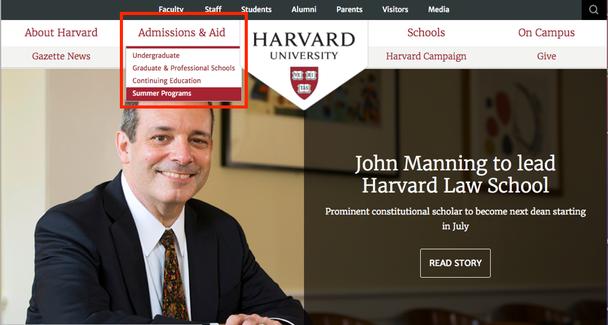 Гарвард использовал выпадающее меню, чтобы показать подкатегории.