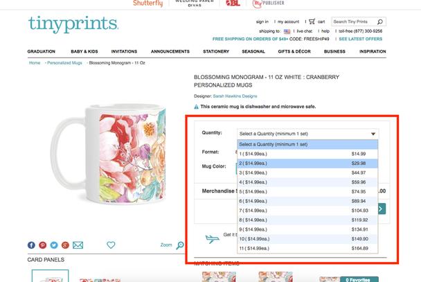 Tinyprints усложнили процесс покупки, лишив пользователей возможности просто набрать одну или две цифры.