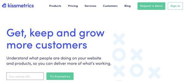 Kissmetrics ссылается на страницу с ценами в хедере главной страницы