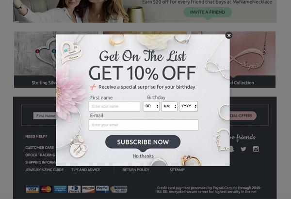 пример сайта, который продает персонализированные украшения