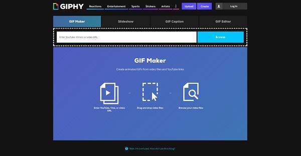 Перейдите на вкладку GIF Maker и загрузите ваш видеофайл
