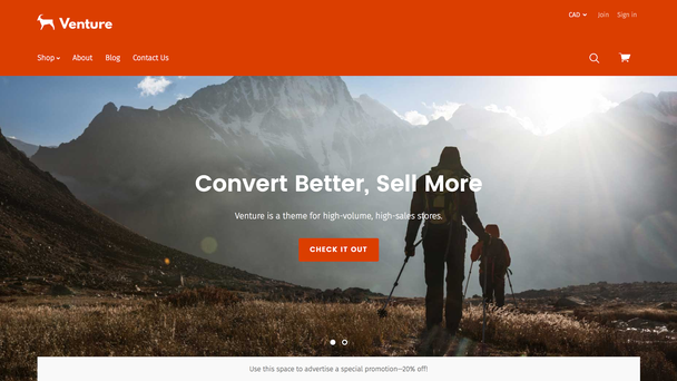 Внизу скриншота вы можете видеть встроенный баннер BigCommerce («Используйте это пространство для продвижения специальных акций»)