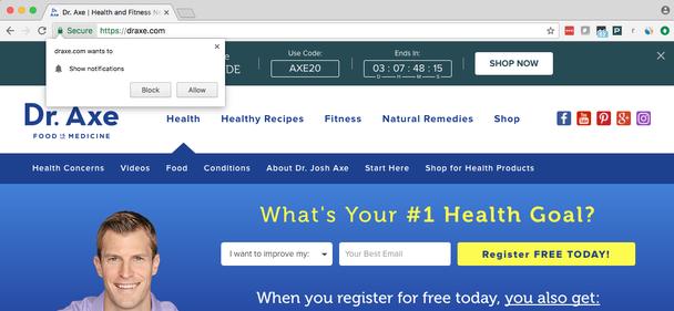 Пример жесткого запроса на HTTPS-сайте в левом верхнем углу: «draxe.com хочет показывать вам уведомления. Блокировать/Разрешить»