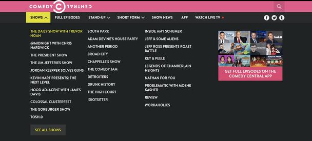 The Daily Show занимает самое приоритетное место в иерархии меню