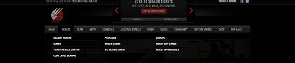 Дизайн меню сайта Portland Trail Blazers в 2013 году