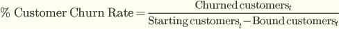 % оттока = Клиенты, которые ушли в период t / (Количество клиентов в начале периода t — Клиенты с долговременной подпиской)