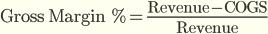 % валовой маржи = (Доход — Себестоимость) / Доход