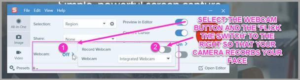 Для записи с веб-камеры (чтобы зрители видели ваше лицо) просто активируйте соответствующую функцию