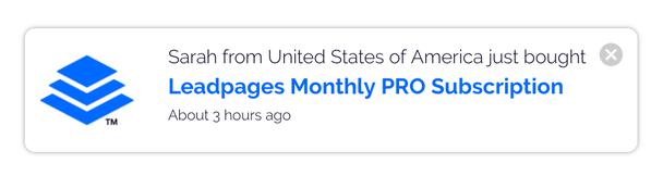Сара из США только что купила месячную PRO-подписку на Leadpages
