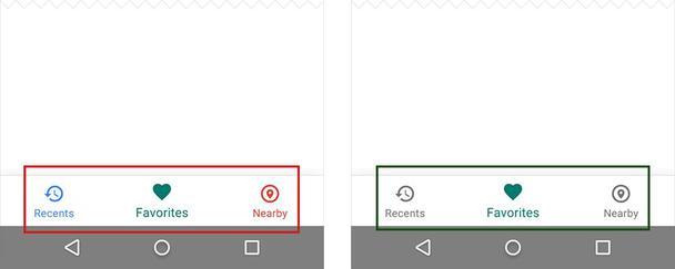 Слева: разноцветные иконки делают ваше приложение похожим на новогоднюю елку. Справа: используйте только один основной цвет.