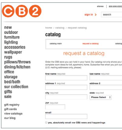 На сайте расположена лид-форма, позволяющая подписаться на печатный каталог.