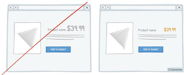 Обозначайте цену более мелким шрифтом