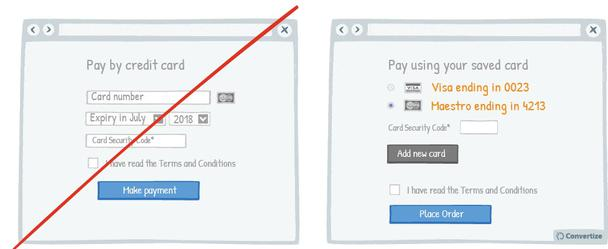 Пример слева: «Оплатить кредитной картой...». Пример справа: «Оплатить сохраненной картой VISA, заканчивающейся на 0023; Maestro, заканчивающейся на 4213»