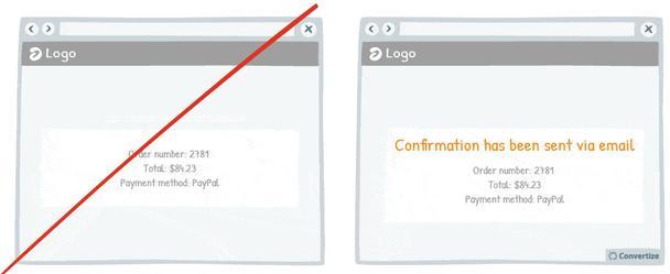 В примере справа добавлена фраза: «Подтверждение было отправлено по email»