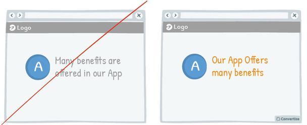 Пример слева: «Множество преимуществ предлагается нашим приложением». Пример справа: «Наше приложение предлагает много преимуществ»