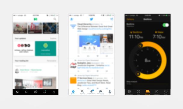 Примеры с навигацией внизу экрана в приложениях на iOS — Medium, Twitter и Clock
