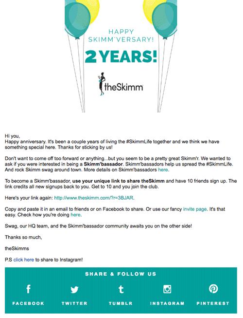 Привет! С годовщиной! Прошло уже два года с тех пор, как вы начали пользоваться услугами SkimmLife и у нас есть для вас особое предложение. Спасибо за то, что вы с нами!