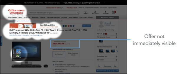 Из-за резкого контраста фона и заголовка сайта OfficeDepot цена за товар со скидкой не выделяются так сильно, как, вероятно, было задумано изначально