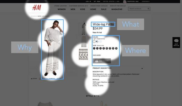 Дизайн сайта H&M прекрасно справляется с задачей направить взгляд пользователя на изображение товара, его описание и следующие действия.