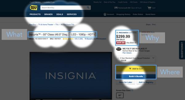 BestBuy весьма эффективно использует контраст, чтобы облегчить пользователю навигацию по сайту