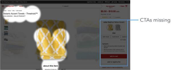 Дизайн сайта Target уводит взгляд пользователя влево, в силу чего размещенные справа CTA и цена продукта сливаются с фоном