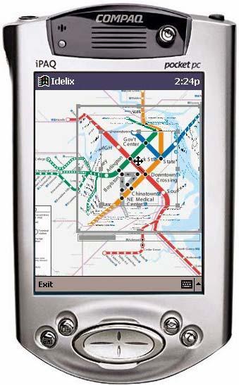 «искаженная» карта на дисплее карманного компьютера, показывающая транспортные коммуникации как неразрывные, несмотря на увеличение области фокусировки