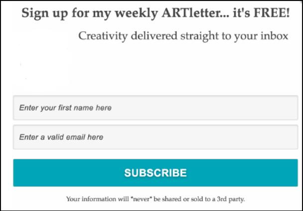 Подпишитесь на мою еженедельную рассылку об искусстве... она бесплатна! Креатив прямо в вашем почтовом ящике.
