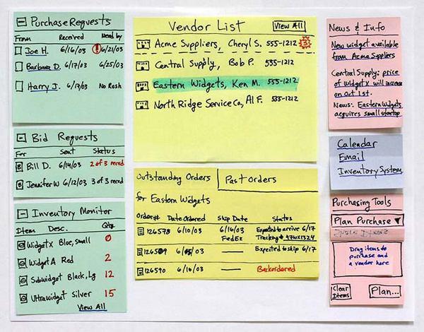Фрагмент процесса «бумажного прототипирования».