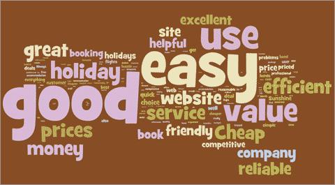 Это «облако тэгов» сформировано из клиентских ответов на вопрос: «Как бы вы описали компанию своим друзьям?».