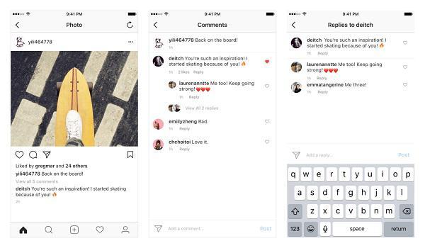 Instagram (и Facebook) запустил функцию древовидных комментариев