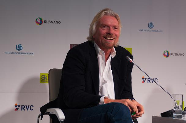 Richard Branson talking on a panel in Moscow, Russia.