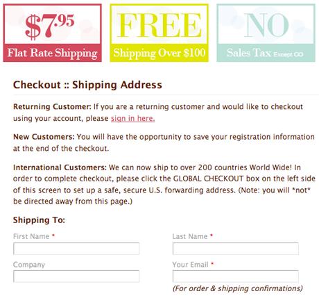 Delight.com адресует международным заказчикам сообщение о том, как им заполнять формы доставки и биллинга