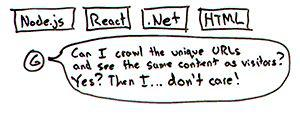 Node.js, React, .Net, HTML… Google: «Я могу просканировать уникальные URL и увидеть тот же контент, что и посетители? Да? Тогда… мне по фиг!»